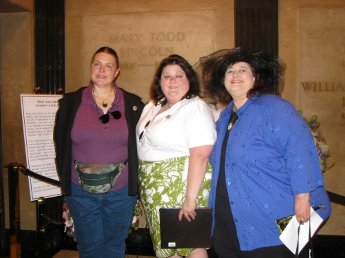 The founders of Mary Lincoln's Coterie (L to R) Donna Daniels, Valerie Gugala, and Donna McCreary